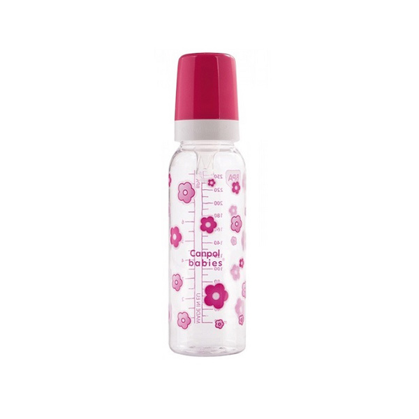 Baby Flašica 250ml Printed Canpol Babies 11/810-pink